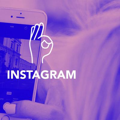 Digitreenien otsikkokuva. Tekstit: Digitreenit, Instagram, yle.fi/oppiminen. Taustakuvassa käsi ottaa knnykällä valokuvan.