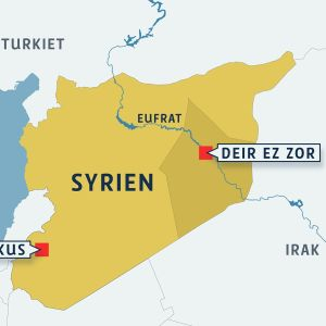 En karta över Syrien, med städerna Damaskus och Deir ez-Zor markerade.