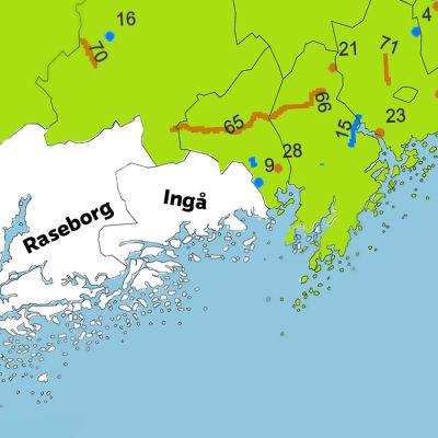 Karta baserad på NTM-centralens plan för vägarbeten, som visar att planer saknas i Raseborg, Hangö och Ingå.