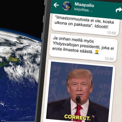 Puhelin, jonka ruudulla näkyy viestejä maapallolta