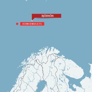 Karta över Norra Ishavet och Komsomolets förlisningsplats.