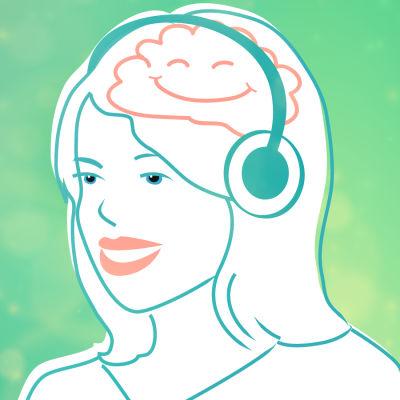 Piirretty kuva. Nainen kuulokkeet päässään.