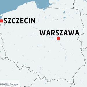 Karta över Polen med Szczecin och Warszawa utmärkta.