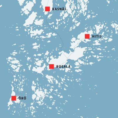Karta med Örö, Rosala, Hitis och Kasnäs.
