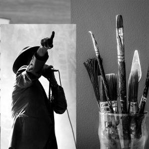 Bildcollage som visar böcker, en sångare samt en burk med penslar.