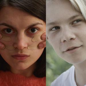 Ett bildkollage med tre närbilder på karaktärer i finlandssvenska dramaserier, Oksana Lommi spelar i dramapodden Det som hände Liv  och Mimosa Willamo spelar en huvudroll i webbserien Badrumsliv. Den sista bilden kommer från barndramaserien Steffi.