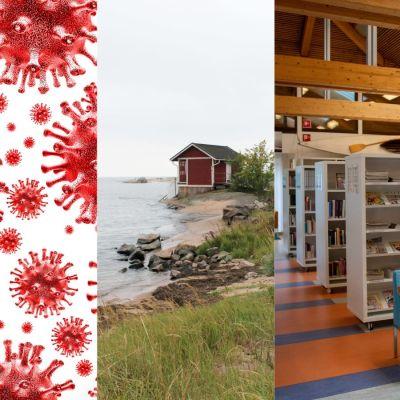 Ett collage med en bild från virkby gymnasium, coronvirus, simhuset i hangö och biblioteket i Ekenäs