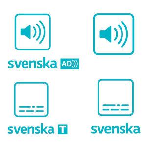 Samling av Yles symboler i program och på webben. I den övre raden symboler för syntolkning samt ljud- och språksymbolerna. I den nedre raden symbolen för Dolby 5.1-ljud, symbolen för svenska programtextning och svensk översättningstextning.