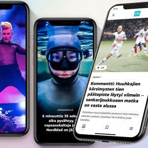 Neljä älypuhelimen ruutua, joilla näkyy uudistunut Yle-palvelu.