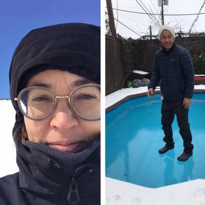 Bildmontage med tre bilder från Texas som drabbats av vinterväder. Till vänster folk som går i snön, i mitten en bild på Texasbon Jessica Sundin och till höger en bild på en man som står på vattnet på en frusen simbassäng.