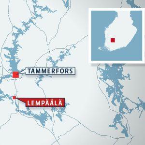 Karta över Finland med Lempäälä utmärkt.