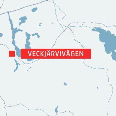 Karta över Veckjärvivägen och Borgå centrum