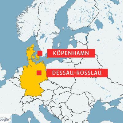 Karta över delar av Europa, men Danmark och Tyskland i gult och alla andra länder i vitt.