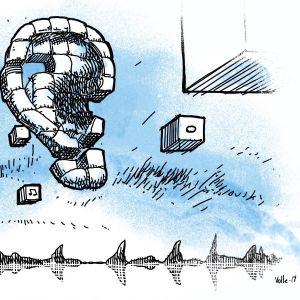 Abstrakt illustration av bitar som skapar ett öra samt ljudvågsgrafer