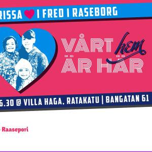 En affisch för en en kampanj för en flyktingfamilj.