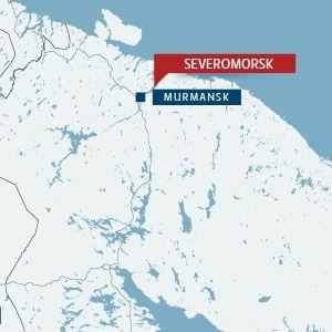 Karta över norra Ryssland och Finland.