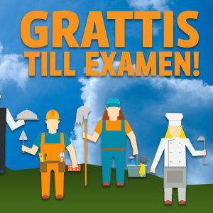 """Texten """"Grattis till examen"""""""