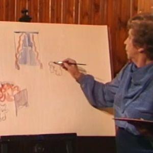 Kylli-täti maalaa Lucia-neitoa.