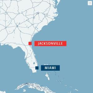 Karta över sydöstra USA.