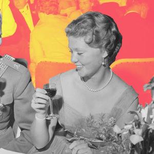 Sveriges prinsessa Birgitta i middagsbordet på Fiskartorpet.