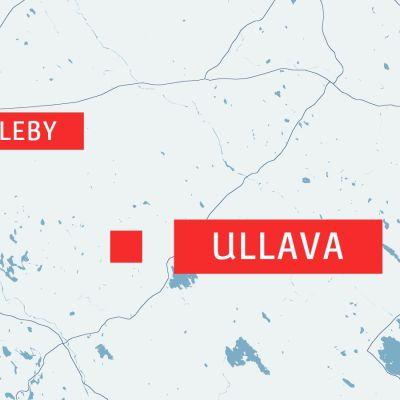 Ullava, Karleby och Jakobstad utprickade på en karta.