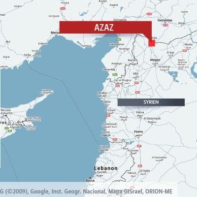 Karta som visar Azaz i Syrien