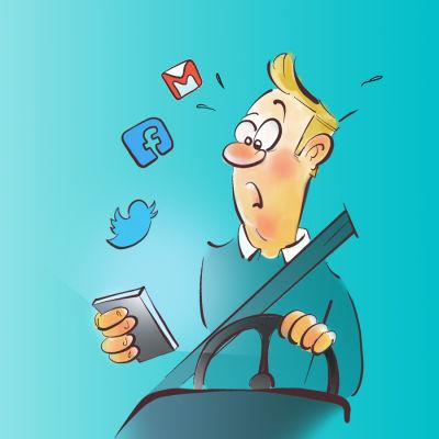 Illustration av en person som kör bil och surfar på mobilen samtidigt.