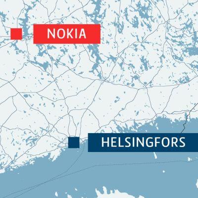 Karta över delar av Finland