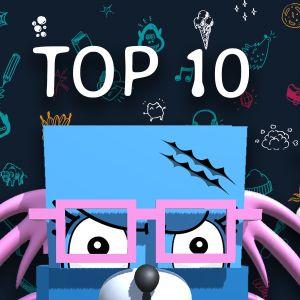Galaxin sovelluksen avatar-hahmoja ja teksti Top 10