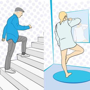 Kuvissa mies nousee portaita, nainen pesee hampaita yhdellä jalalla ja nainen pesee ikkunaa.