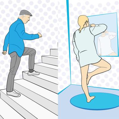 Bildcollage av grafik som visar folk som motionerar i vardagen genom att tvätta fönster, gå i trappor och borsta tänderna på ett ben.