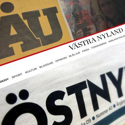 Bildcollage av Östnyland, Västra Nyland och Åbo Underrättelsers logotyper.