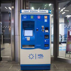 HSL Lippuautomaatti Lauttasaaren metroasemalla