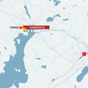 Kartta, johon on merkitty Pohja, Gumnäsintie ja Karjaa.