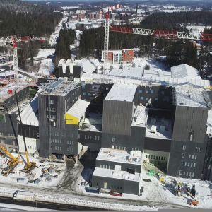 Keski-Suomen keskussairaalan rakennustyömaa.
