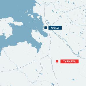 Kartta jossa Oulu ja Tyrnävä