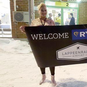 Ryanair toivotetaan tervetulleeksi Lappeenrantaan.