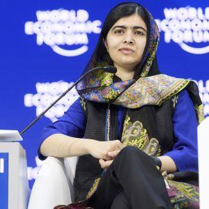 Malala Yousafzai Maailman talousfoorumissa Sveitsin Davosissa.