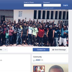 Kuvakaappaus Pueblo Sin Fronteras -liikkeen Facebook-sivuilta. Kuvassa järjestön aktivisteja.