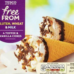 Tesco Free From -tuotesarjan Toffee & Vanilja -jäätelötuutteja.