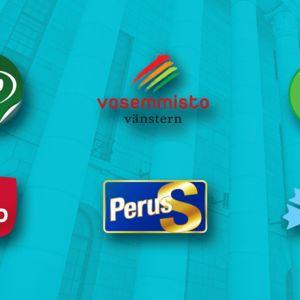 Gif-animaatio puolueiden logoista.