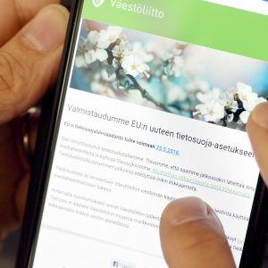 Väestöliiton sähköposti liittyen EU:n uuteen tietosuoja-asetukseen