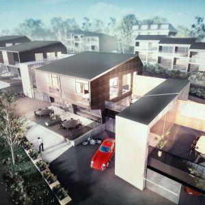 Rakennusvarman havainnekuva Kymi Ringin moottoriradan varteen rakennettavaksi aiotuista hulppeista huoneistoista.