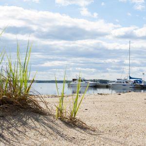 Kuvan edustalla on hiekkaranta ja heiniä, taka-alalla on veneitä laiturissa.
