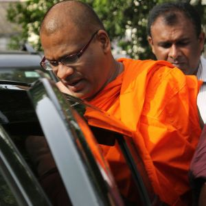 """A Sri Lankan court on Thursday jailed for six months a Buddhist monk accused of inciting violence against Muslims after finding him guilty of intimidating the wife of a missing journalist, in a case seen as a test of the independence of the judiciary.  Galagoda Aththe Gnanasara, the secretary general of the hardline Bodu Bala Sena (BBS) or """"Buddhist Power Force"""", was found guilty of having threatened the woman, Sandhya Eknaligoda."""