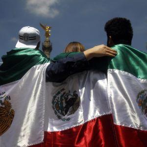 Meksikolaisfanit juhlivat Meksikon pääkaupungissa.