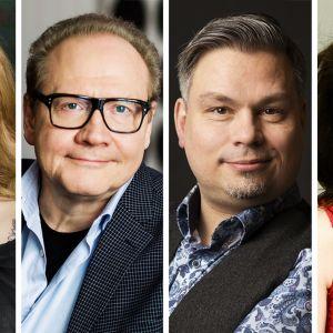 Kirjailijat Katja Kettu, Jari Tervo, Tommi Kinnunen ja Riikka Pulkkinen.