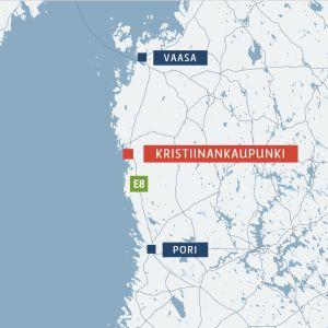 Kristiinankaupunki kartalla.