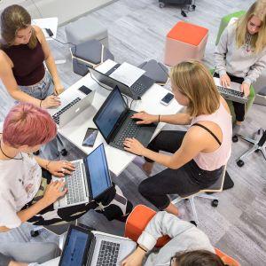 viisi opiskelijaa työskentelee tietokoneella