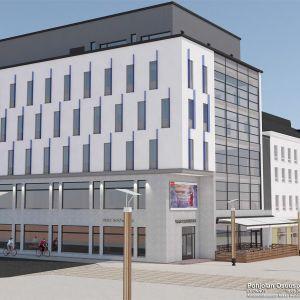 Rovaniemelle rakennettavan Pohjolan Osuuspankin uuden pääkonttorin havainnekuva.